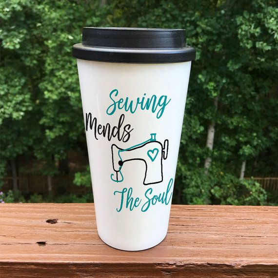Sewing mends the soul travel coffee mug by Ivorypaigevinyl