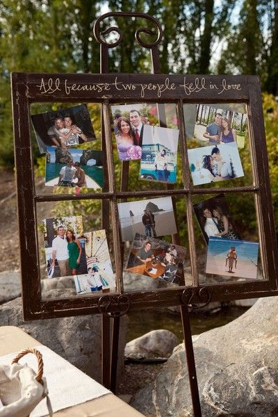 wedding photo displayDecor, Cute Ideas, Old Windows Frames, Windows Panes, Window Panes, Photos Display, Picture Frames, Pictures Frames, Window Frames
