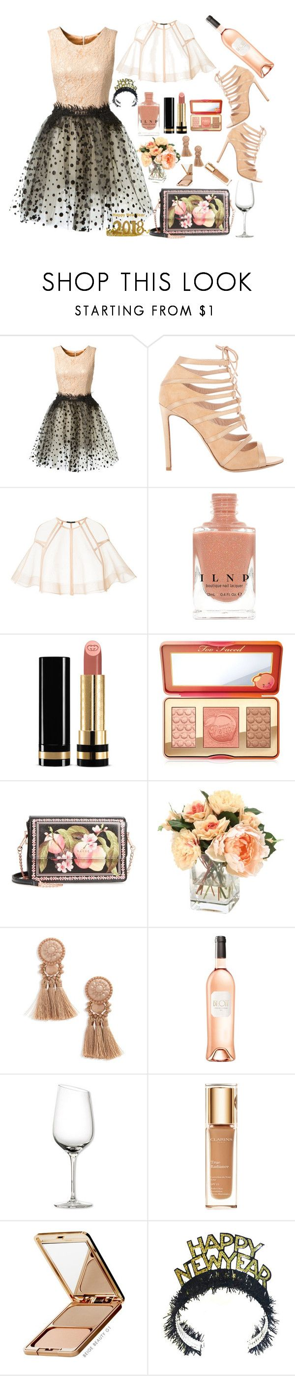 """Peachy eve's"" by karito-pinup ❤ liked on Polyvore featuring Loyd/Ford, Gianvito Rossi, Alex Perry, Gucci, Too Faced Cosmetics, Ted Baker, Topshop, Eva Solo, Clarins and Napoleon Perdis"