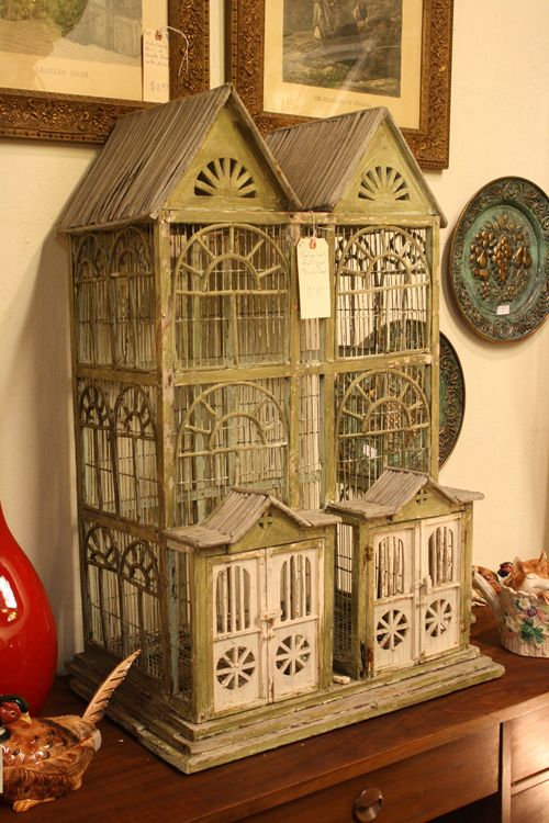 Antique Bird Cage I HAVE THIS EXACT CAGE!!! The picture does it no justice, it's a beautiful shade green with lovely pink doors