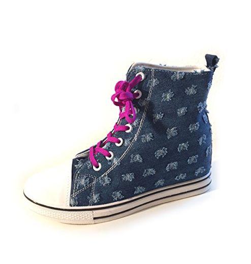 PantoffelDIVA, Damen Keil Sneaker, Jeans Blau, High Top, pfiffiger Trachtenschuh für Dirndl und Lederhose mit lila glitzer Bambi(39) - Sneakers für frauen (*Partner-Link)