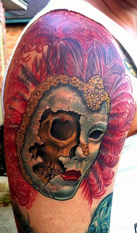 venetian mask tattoo sleeve | More Tattoo Images Under: Mask Tattoos
