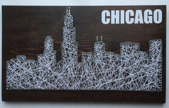 Chicago Skyline String Art - $50.00 - Custom Made to Order
