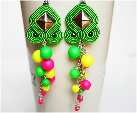 sour candy soutache earrings with neon pink, yellow, green swarovski pearls