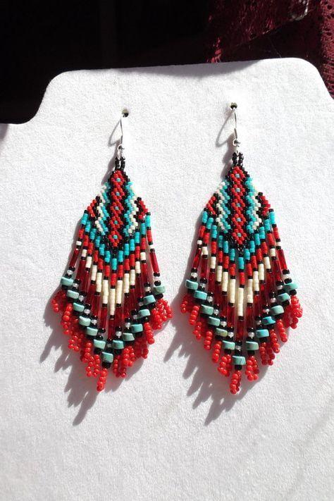 Native American Beaded Earrings Black White by BeadedCreationsetc
