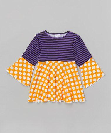Love this Purple & Mango Stripe Tunic - Infant, Toddler & Girls on #zulily! #zulilyfinds