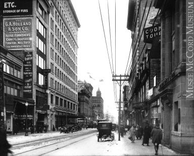 Corner St. Catherine and Stanley Streets, looking east, Montreal, QC, 1915