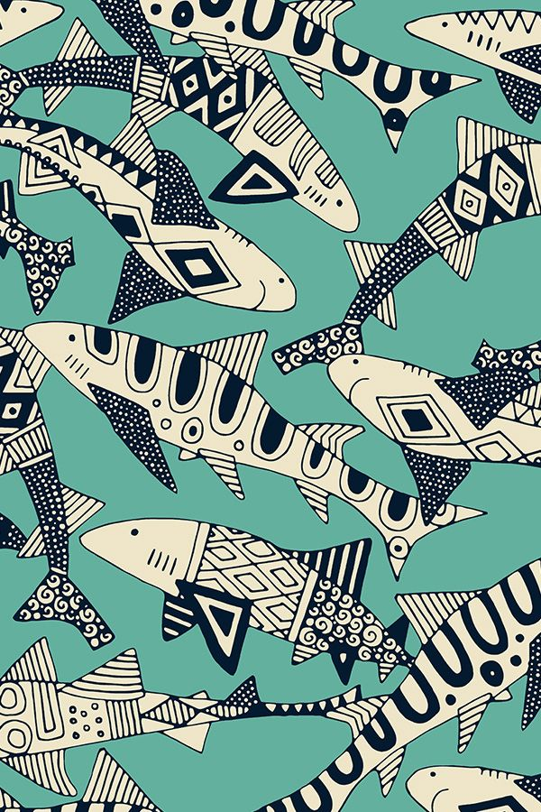We love these intricately illustrated black and white sharks on turquoise!  This playful pattern is great for spicing up a boring room with some bold home decor.  Click to see more bold animal illustrations by this indie designer.