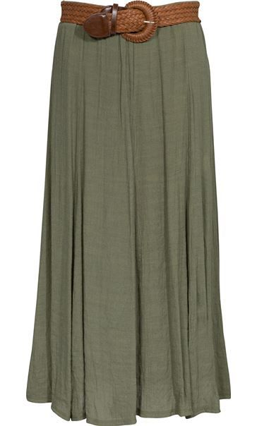 Crinkle Maxi Skirt - Take your wardrobe to new lengths with this boho inspired light khaki crinkle fabric maxi skirt. Fully lined with elasticated waist and finished with a brown buckle belt, perfect teamed with a cami and sandals. Back length 87cms.