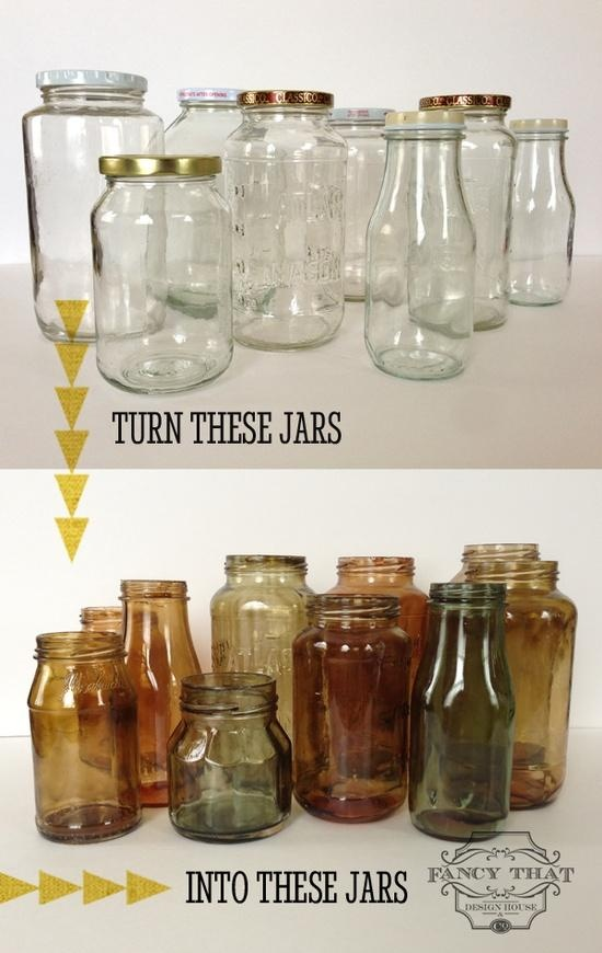 DIY color tinted jars to line the shelves :)