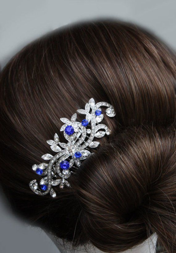 Blue Combs Sapphire Blue Crystal Bridal Hair Comb Royal Blue