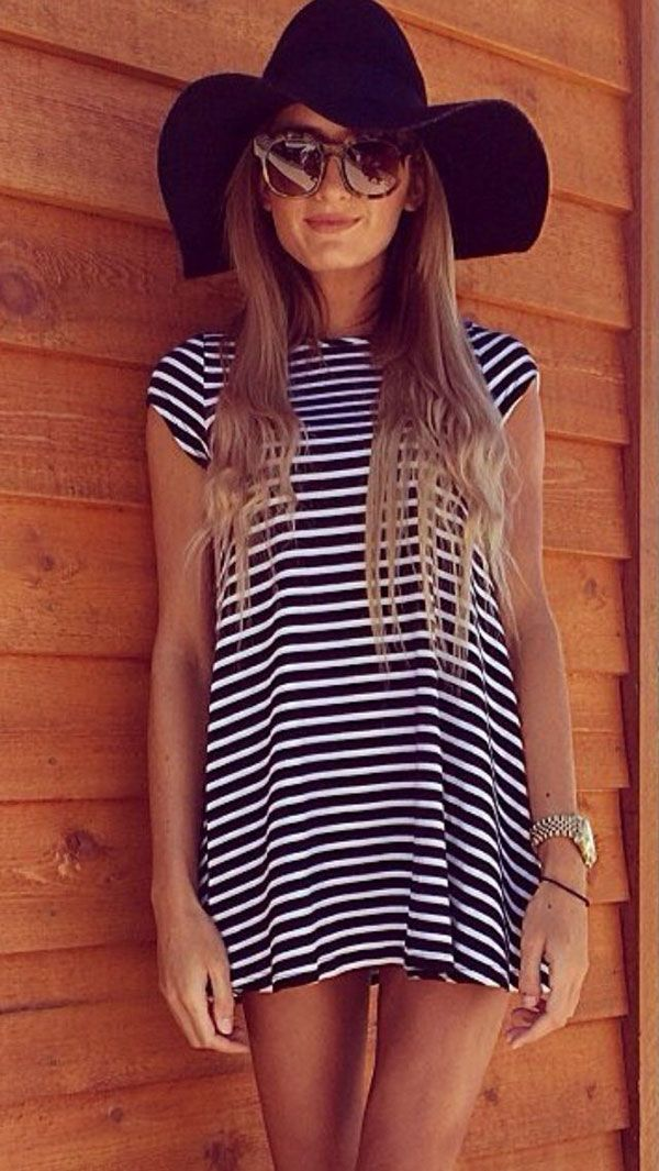 Striped dress + floppy hat + simple ballet flats?