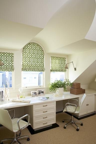 Love the study - (I have a thing for long double desks). Love the calming green roller blinds.