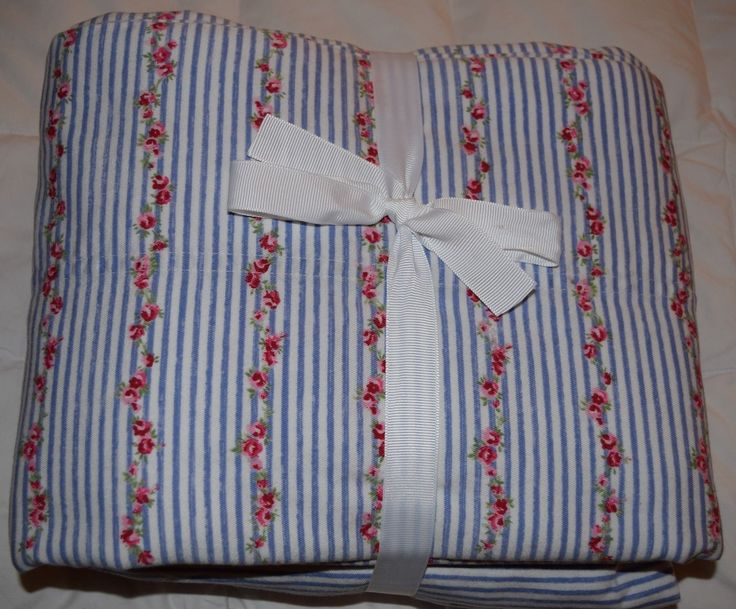 Rachel Ashwell Treasure Twin Flat Fitted Sheet Shabby Chic Red ROSE Blue Stripe | eBay