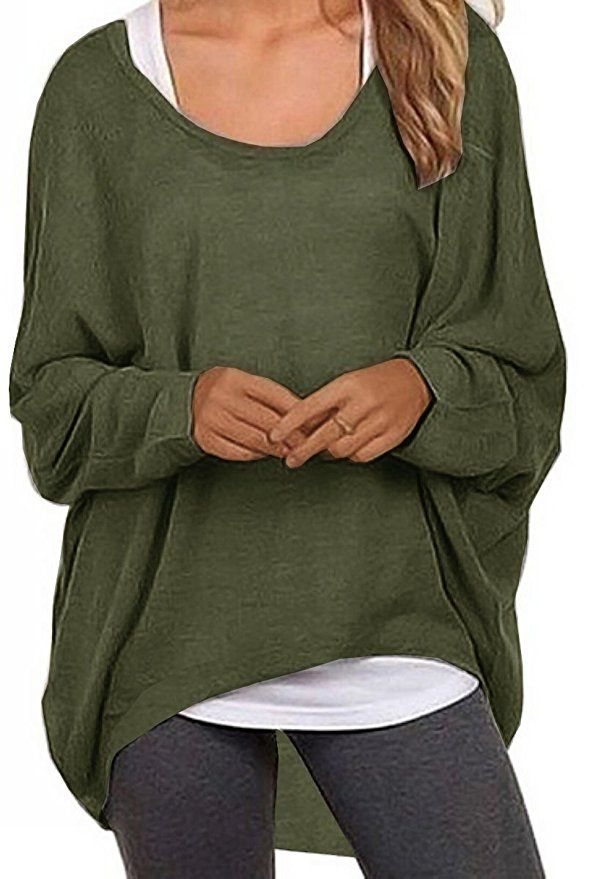 6a305301e8ab8 UGET Women s Sweater Casual Oversized Baggy Off-Shoulder Shirts Batwing  Sleeve Pullover Shirts Tops at Amazon Women s Clothing store