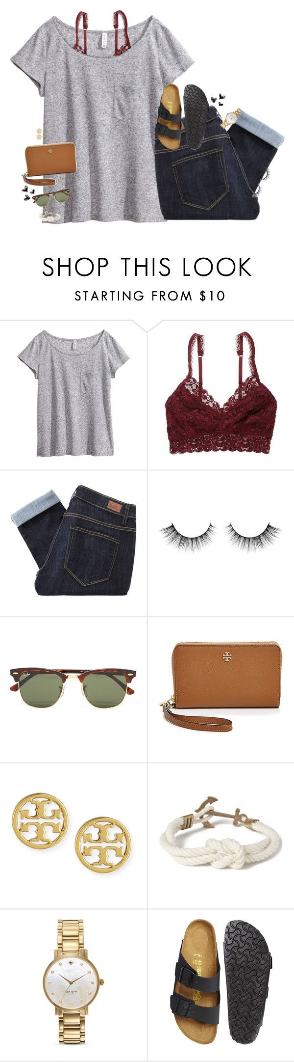 """""""My birthday is this week!!"""" by smbprep ❤ liked on Polyvore featuring H&M, American Eagle Outfitters, Paige Denim, Ray-Ban, Tory Burch, Kiel James Patrick, Kate Spade and Birkenstock"""