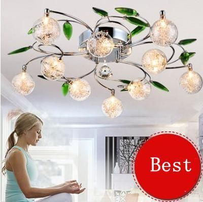 ==> [Free Shipping] Buy Best free LED BULB 6/10/15 light LED aluminium wire lamp K9 crystal branch green tree leaves ceiling light glass Ball Lampshade Online with LOWEST Price | 32429720706