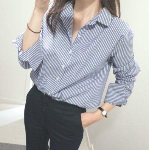 Korean Fashion Women Cotton Linen Casual Striped Button Down Shirt Blouse Tops #frisyrer #Frisuren #nouvellecoiffure #hairstyle
