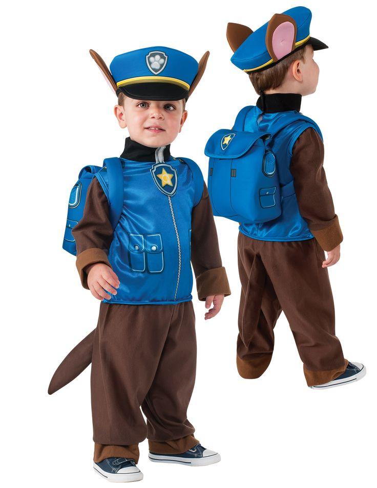Disfraz niño Policía Chase Patrulla Canina™: Este disfraz incluye traje, gorro y mochila (zapatos no incluidos).El traje es una chaqueta azul y pantalón marrón como el uniforme de Chase, el perro policía.La chaqueta no...