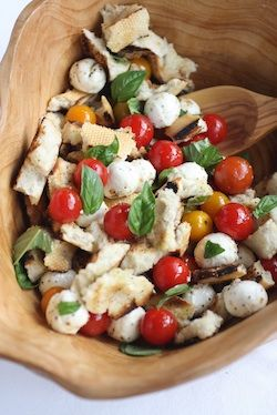 Grilled Panzanella Salad - one of my favorite summer dishes.  Especially when I can use tomatoes from my own garden.  Also - really good, fresh bread...