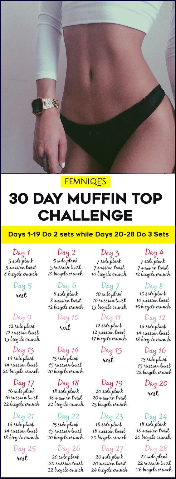 30 Day Muffin Top Challenge Workout/Exercise Calendar Love Handles - This 30 Day Muffin Top Challenge will help you get a smaller waist showing your true curves!