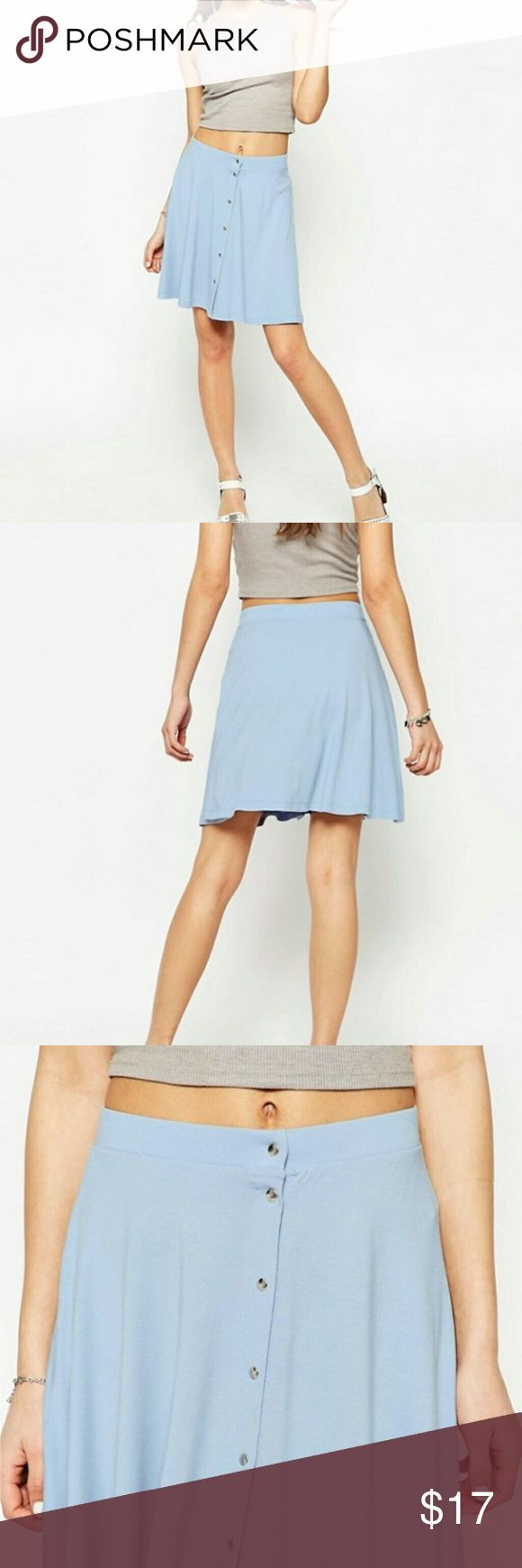 Asos skirt Super cute flowy light blue skirt from ASOS. It has 6 buttons on the front. Can be paired with a cute tank,plain tank , or a nice tee. Simple and girly~<3 UK 8,US4 I think it'll fit like a small. Measurements: waist-13(but can stretch up to 16-ish) length -18in 95%viscose 5%elastane NEW WITH TAGS ASOS Skirts Mini
