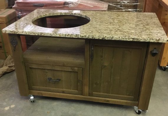 FAVORITE our store to hear about promotions and new items. *** We are a KAMADO JOE DEALER *** $200 to $300 GRILL DISCOUNT when you order a grill cabinet too.   FOR SALE: JR. GRILLER Grill Cabinet in FIRST PICTURE If you would like to ORDER A DIFFERENT GRILL CABINET, please request a custom listing.   This listing is for the FIRST PICTURE shown (MINUS the full slab granite top) and includes the following: 1 drawer under grill 1 charcoal cabinet Drawer & door pulls 100 Lb full extension dra...