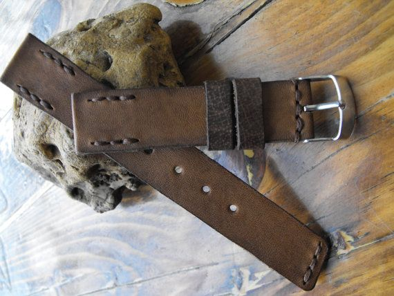 Crazy horse leather watch band rustic watch strap by GORIANI