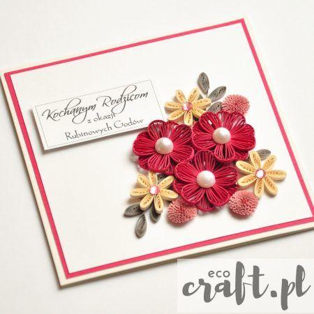quilling, husking, handmade, DIY, greeting card, paperart, wedding anniversary, ecocraft.pl