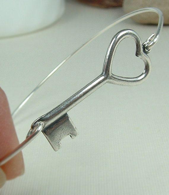 Bracelet clé, coeur en argent bracelet clés Bracelet, passe-partout coeur, Skeleton Key bijoux, Bracelet clé en argent, bijoux clé, $16.00