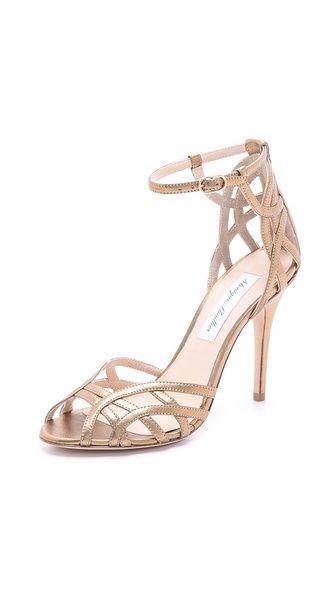 Monique Lhuillier Rose Gold Ankle Strap Sandals Metallic Wedding Shoes
