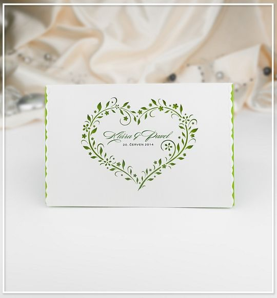 Svatební oznámení s motivem srdíčka z kvítí - G982 : svatebn� ozn�men�