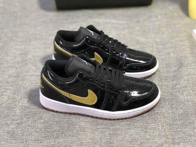 Nike Air Jordan Retro 1 Low GG Black Metallic Gold Gum Patent Leather US