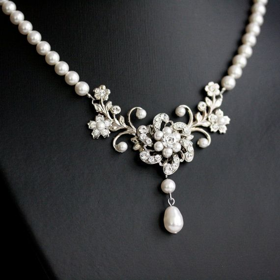 Wedding Necklace, White Pearl necklace, Vintage rhinestone flowers, Swarovski Wedding Jewelry, Sabine Classic. $83.00, via Etsy.