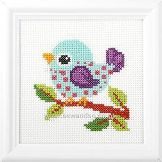 Colourful Bird Cross Stitch.... Nice idea