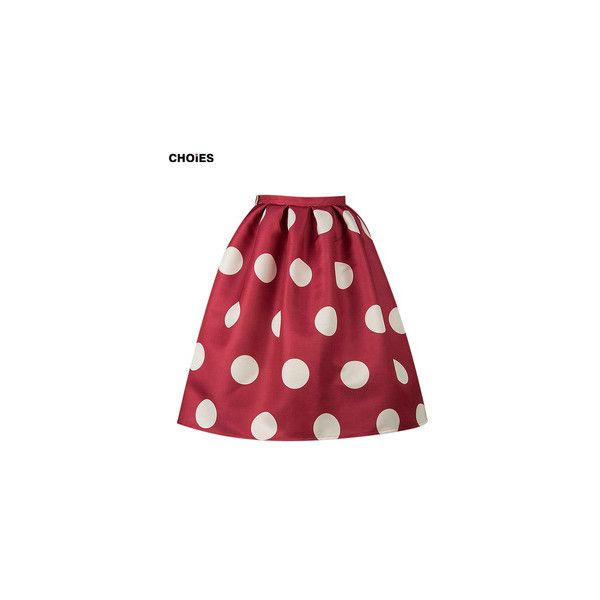 CHOIES Women Red and White Polka Dots Prints Knee Length High Waist Pleats Puff Skater Skirt 2015 Spring New