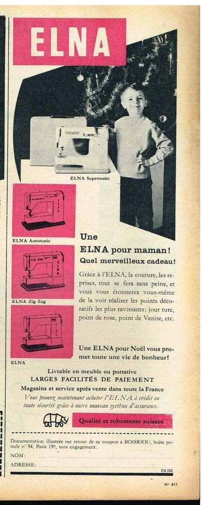 Publicité Advertising 1960 La machine à coudre Elna