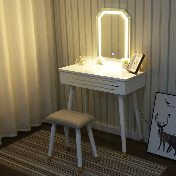 Byrge Makeup Vanity Set With Stool And Mirror In 2020 Vanity Table Set Vanity Table Makeup Table Vanity