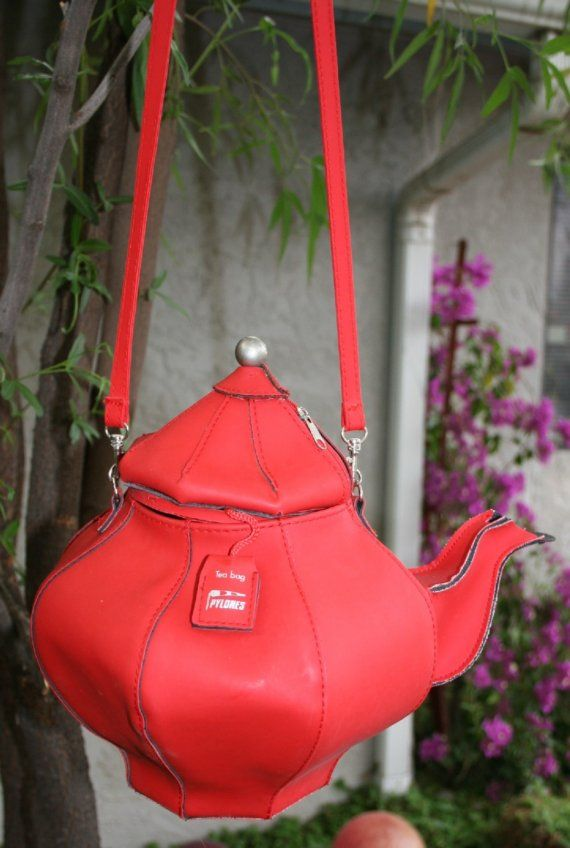 RESERVED Vintage Pylones Teabags Advertising Premium Red Vinyl Novelty Teapot Shape Purse Unique RESERVED