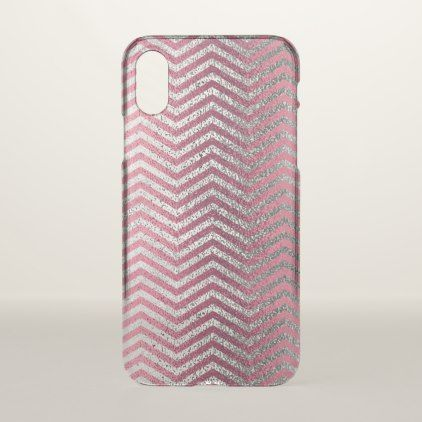Girly rose gold  silver glitter chevron metallic iPhone x case - metal style gift ideas unique diy personalize