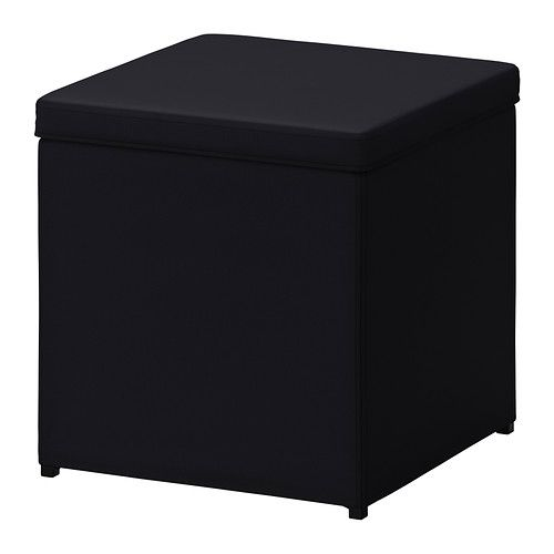 Something like this for the feature wall near the door, if we can't get S's older one. This probably has more storage anyway. BOSNÄS Footstool with storage - Ransta black  - IKEA