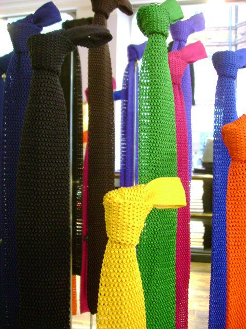 Knit ties, summer colors.