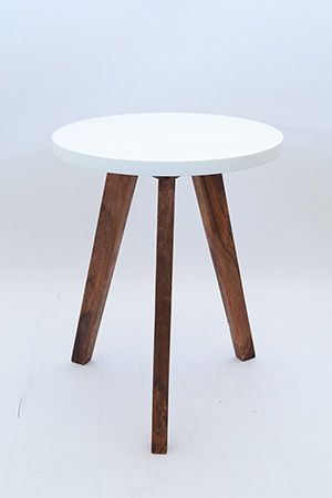 FUD Side-table - Top White MDF with Legs rosewood. Height 50cm.