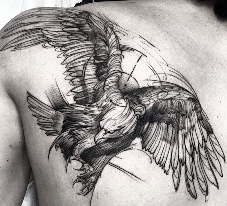 Eagle sketch style tattoo by Fredao Oliveira.   The lines are irregular and there is a general messiness to these sketch style tattoos that make them the epitome of originality and creativity. Enjoy!