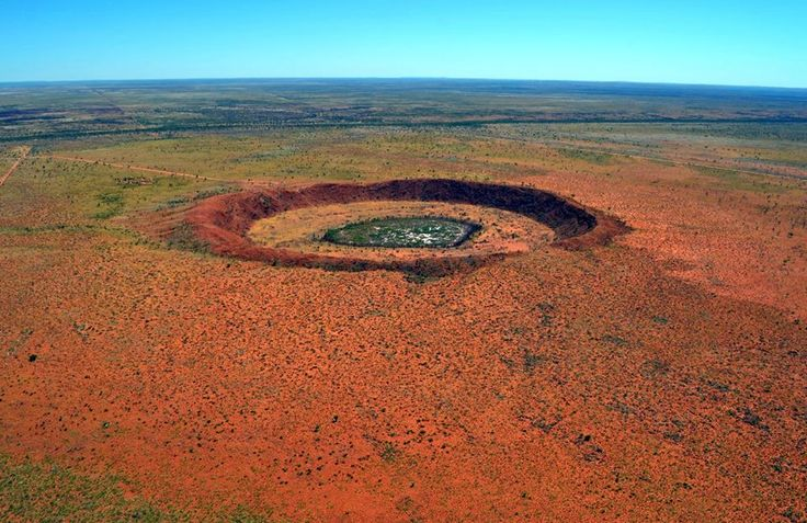 Wolfe Creek Crater, Western Australia! Caused meteorite crashed to Earth around 300,000 years ago. It would have weighed more than 50,000 tonnes and is thought to have been travelling at 15 kilometres a second, a speed that would have taken it across Aus