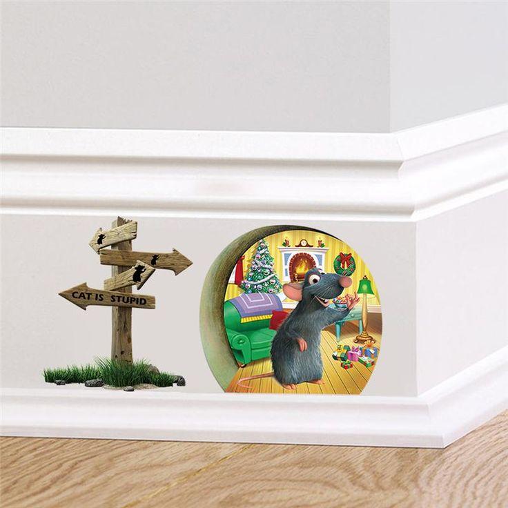 Agujero de ratón divertido pegatinas de pared decoración de la esquina zooyoo1453 embroma el regalo diy adesivo de paredes de dibujos animados animales tatuajes de arte mural 4.0