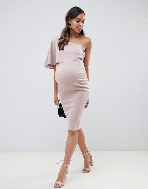 5ef9a1895c7c8 DESIGN Maternity one shoulder cape midi dress in 2019 | Pregnancy ...