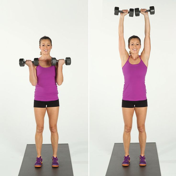 2) BICEP CURL / OVERHEAD PRESS Work your biceps, triceps, and shoulders with these simple moves.