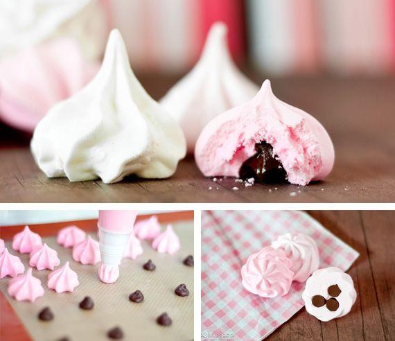 Raspberry meringue kisses
