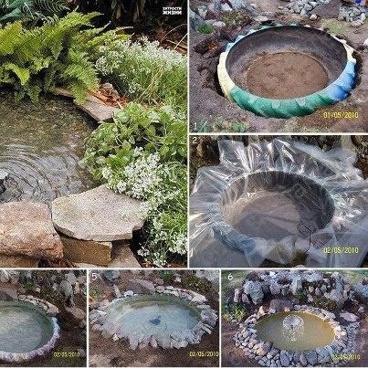Petit bassin avec un pneu de camion ou tracteur, un plastique résistant... et quelques plantes.